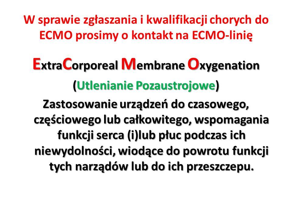 ExtraCorporeal Membrane Oxygenation (Utlenianie Pozaustrojowe)