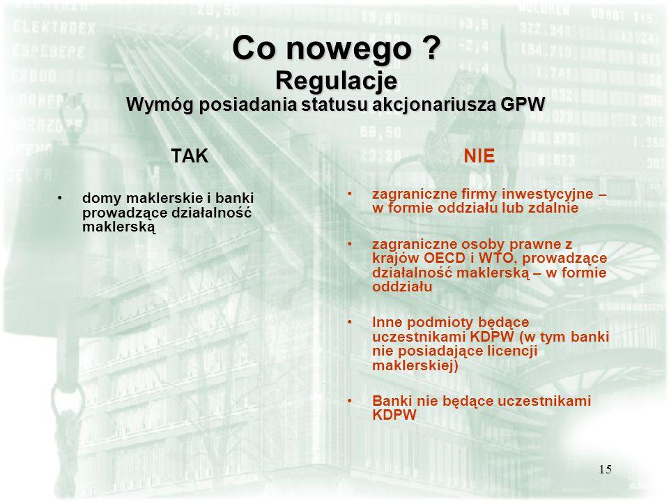 Co nowego Regulacje Wymóg posiadania statusu akcjonariusza GPW