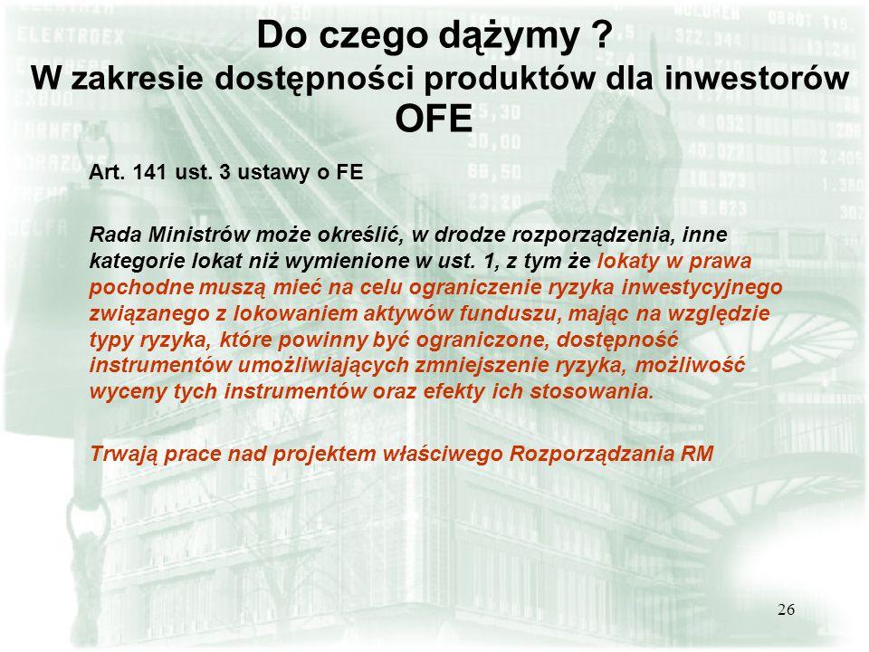 Do czego dążymy W zakresie dostępności produktów dla inwestorów OFE
