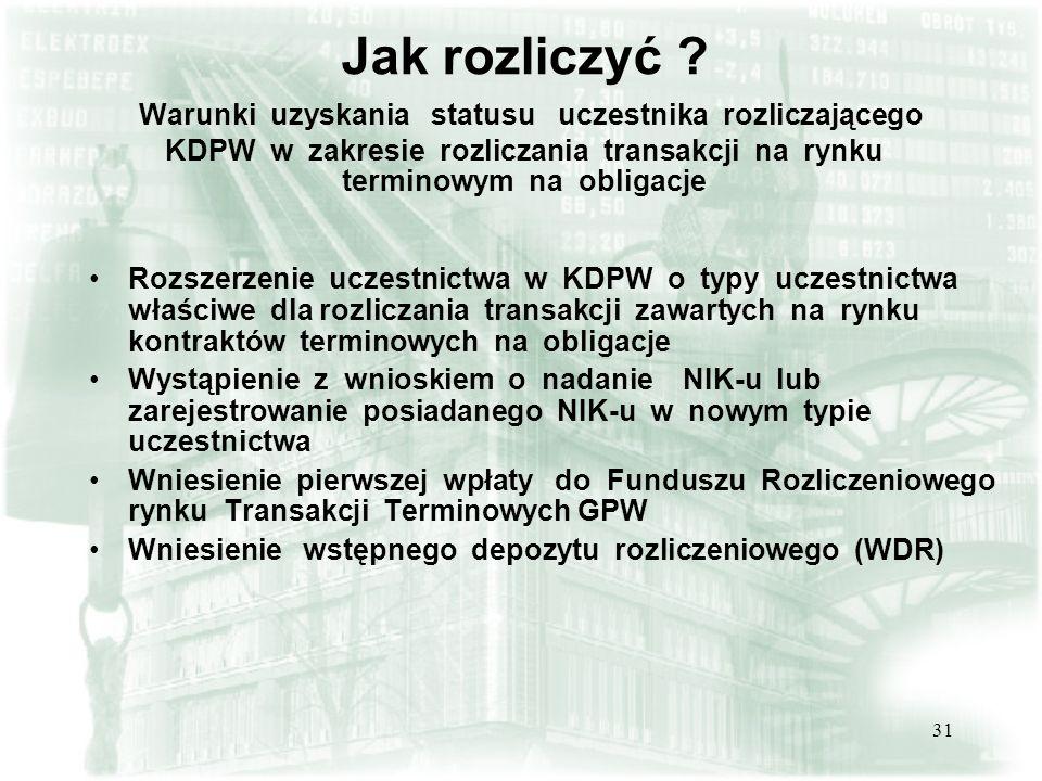 Jak rozliczyć Warunki uzyskania statusu uczestnika rozliczającego KDPW w zakresie rozliczania transakcji na rynku terminowym na obligacje