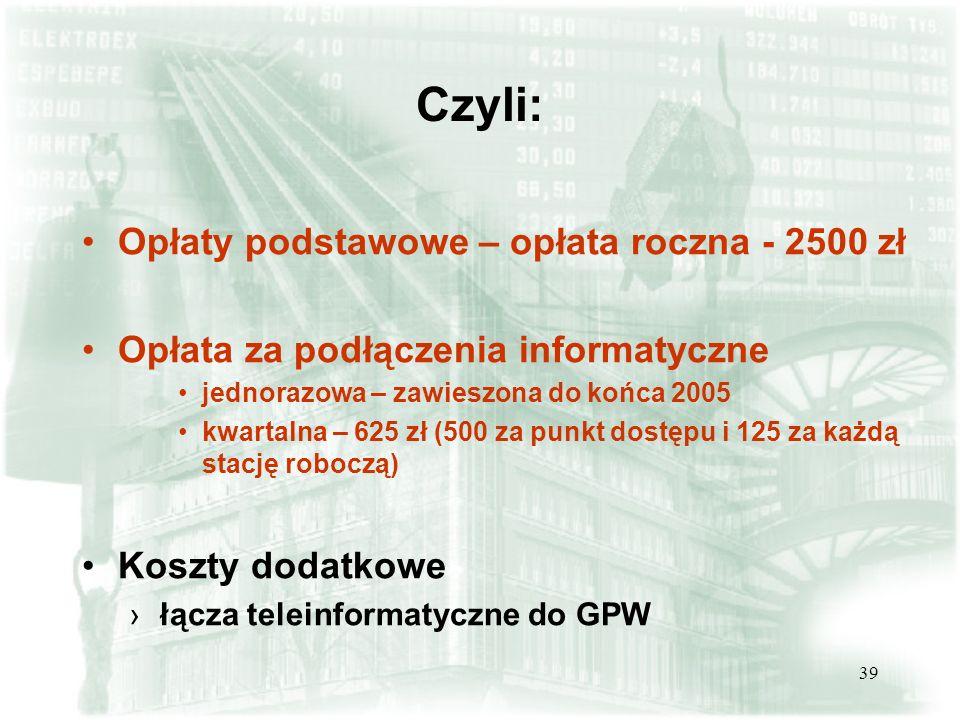 Czyli: Opłaty podstawowe – opłata roczna - 2500 zł