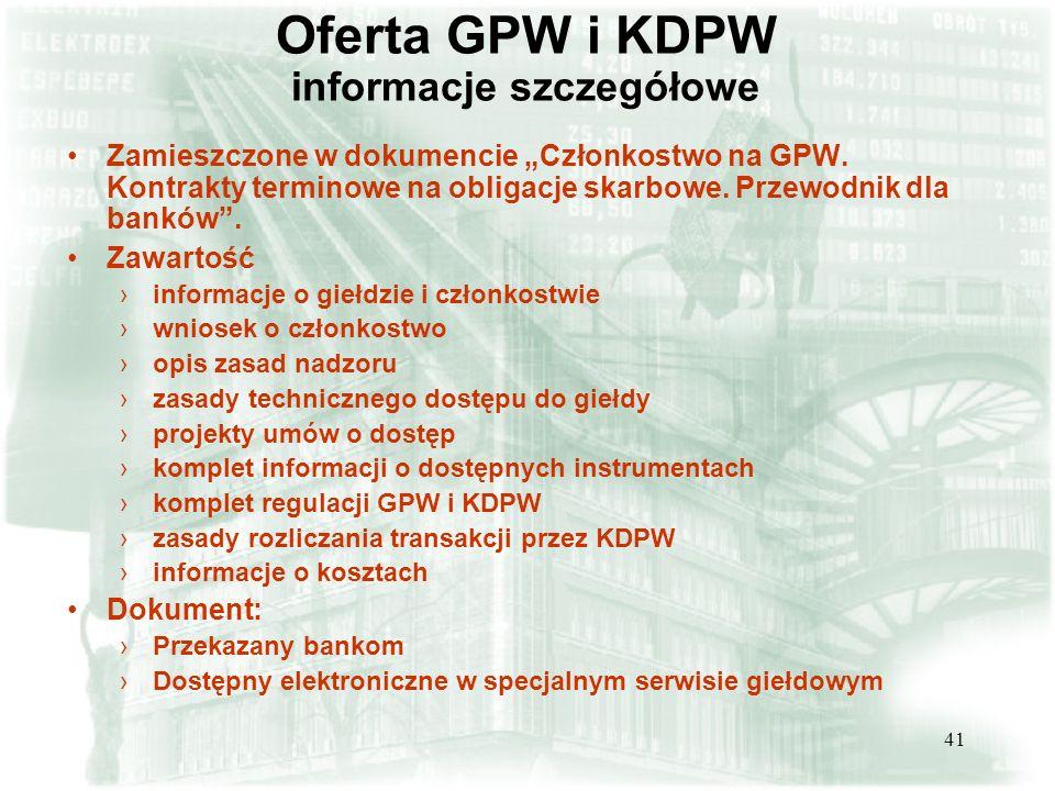 Oferta GPW i KDPW informacje szczegółowe