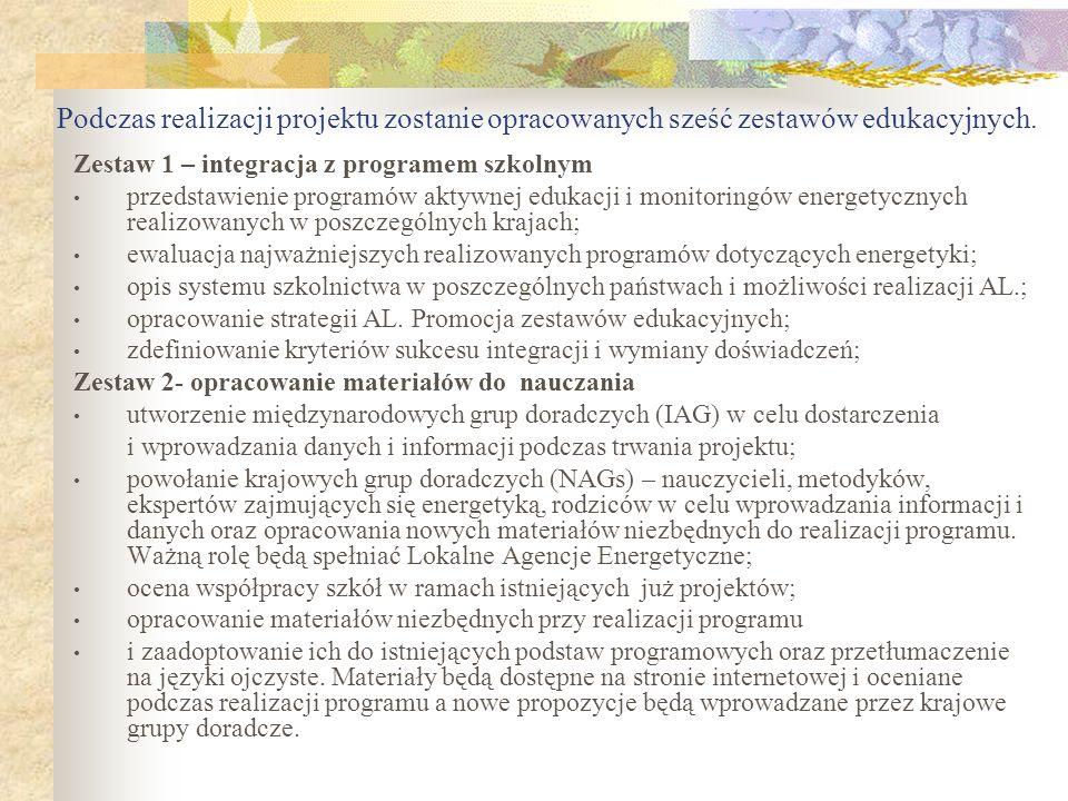 Podczas realizacji projektu zostanie opracowanych sześć zestawów edukacyjnych.