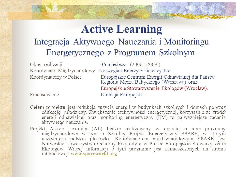 Active Learning Integracja Aktywnego Nauczania i Monitoringu Energetycznego z Programem Szkolnym.