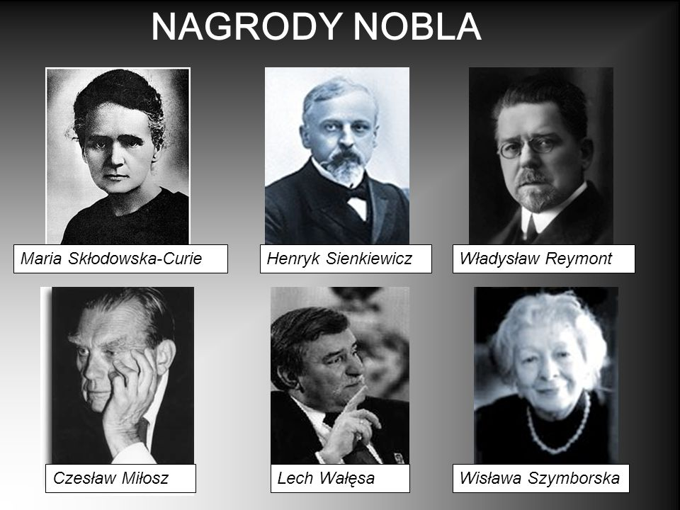 NAGRODY NOBLA Maria Skłodowska-Curie Henryk Sienkiewicz