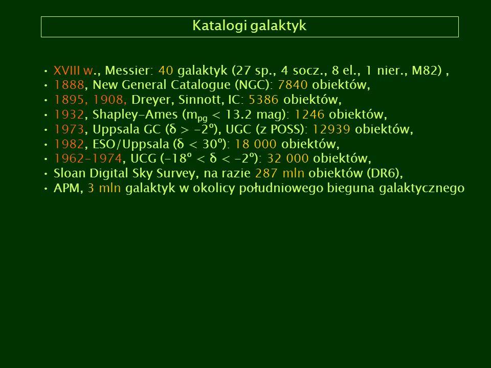 Katalogi galaktyk XVIII w., Messier: 40 galaktyk (27 sp., 4 socz., 8 el., 1 nier., M82) , 1888, New General Catalogue (NGC): 7840 obiektów,
