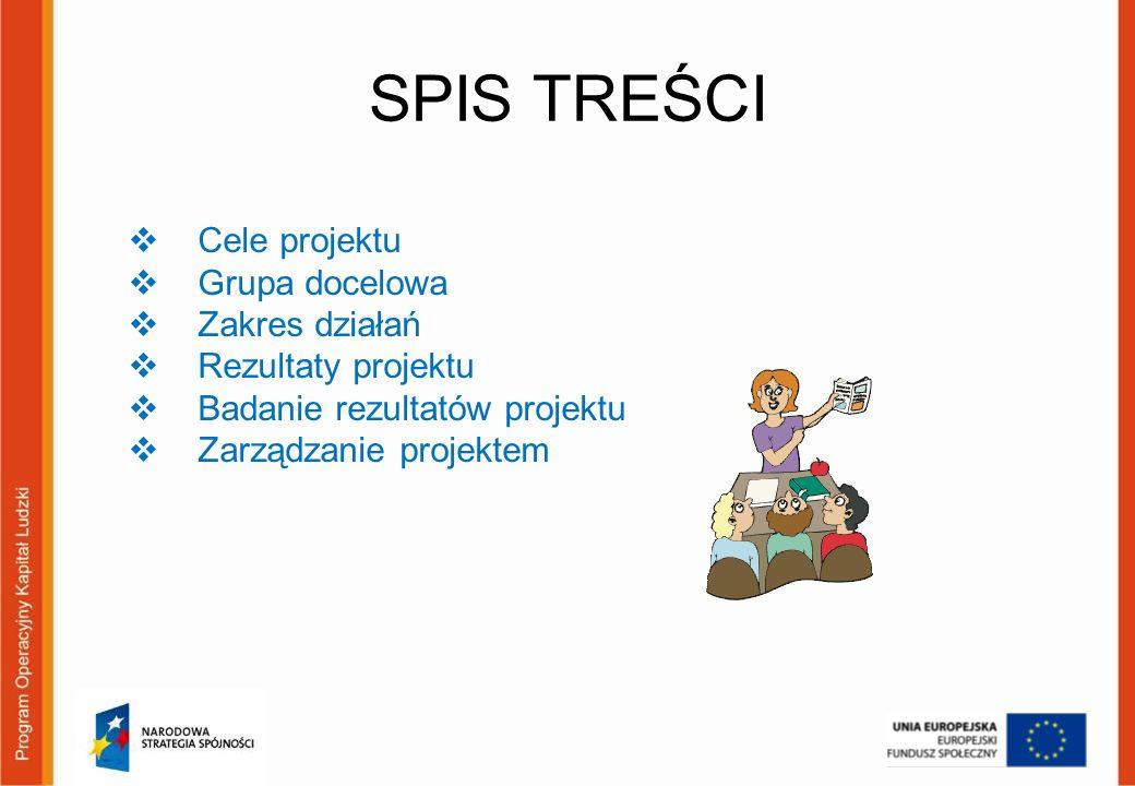 SPIS TREŚCI Cele projektu Grupa docelowa Zakres działań