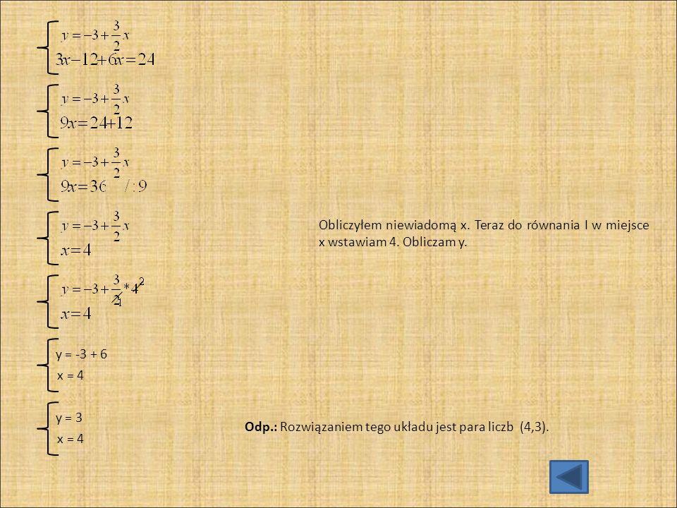 Obliczyłem niewiadomą x. Teraz do równania I w miejsce x wstawiam 4