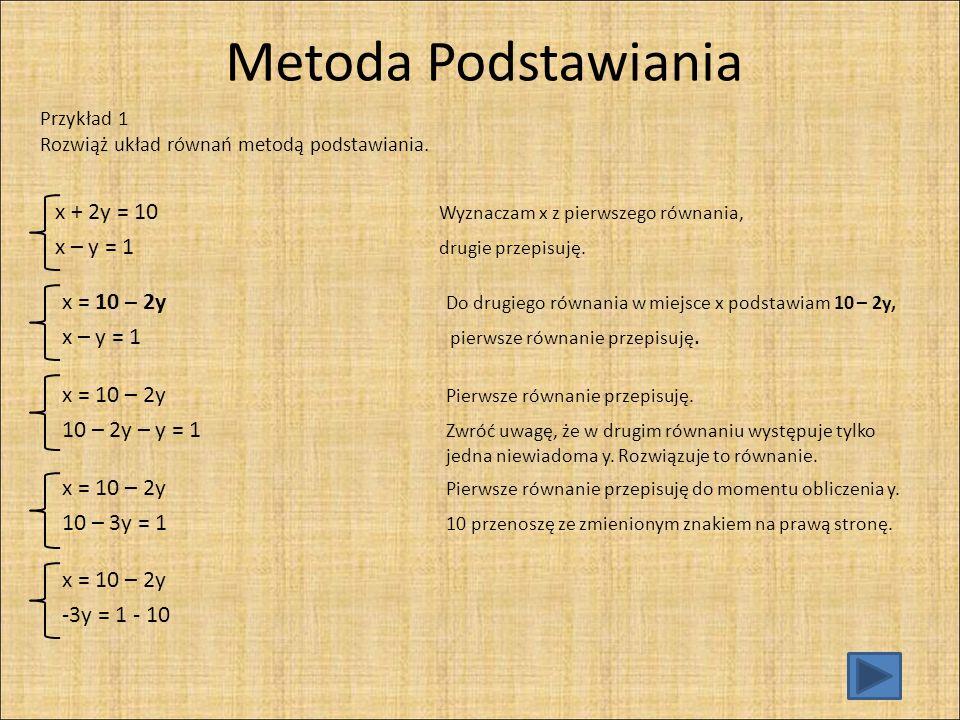 Metoda Podstawiania x + 2y = 10 Wyznaczam x z pierwszego równania,