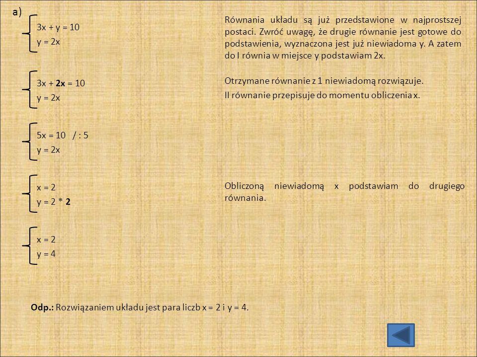 a) 3x + y = 10. y = 2x.