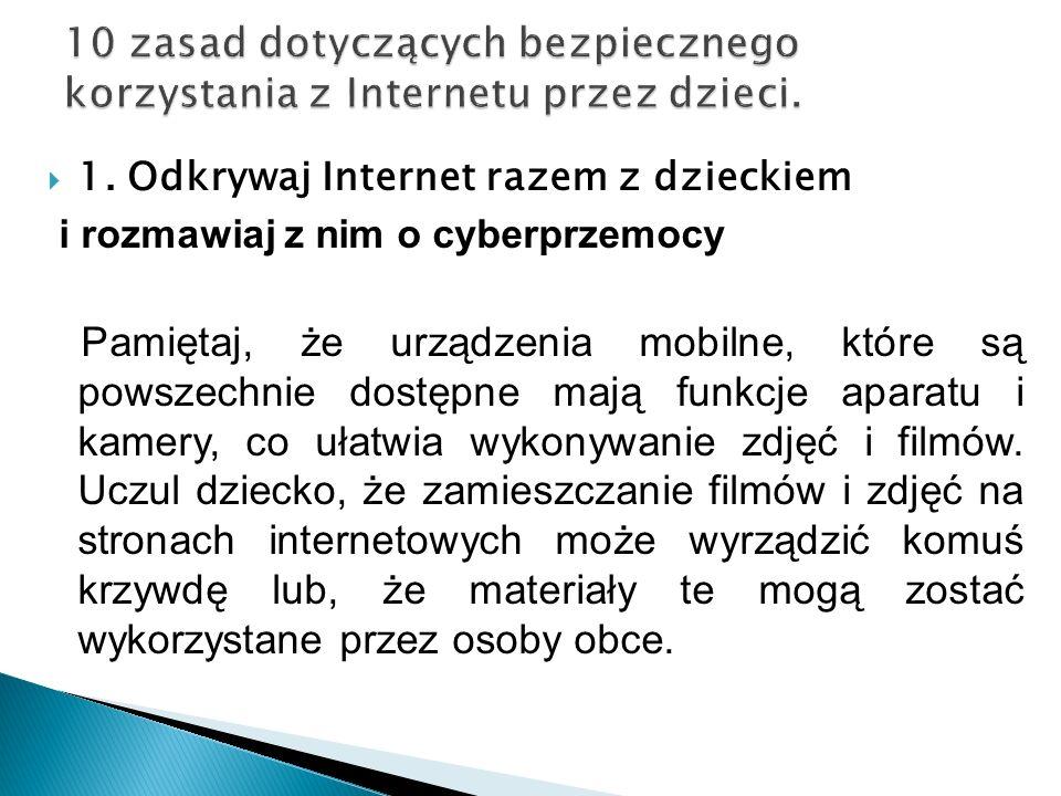 10 zasad dotyczących bezpiecznego korzystania z Internetu przez dzieci.
