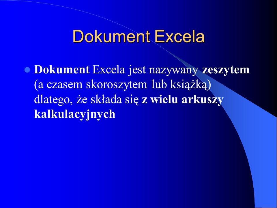 Dokument Excela Dokument Excela jest nazywany zeszytem (a czasem skoroszytem lub książką) dlatego, że składa się z wielu arkuszy kalkulacyjnych.