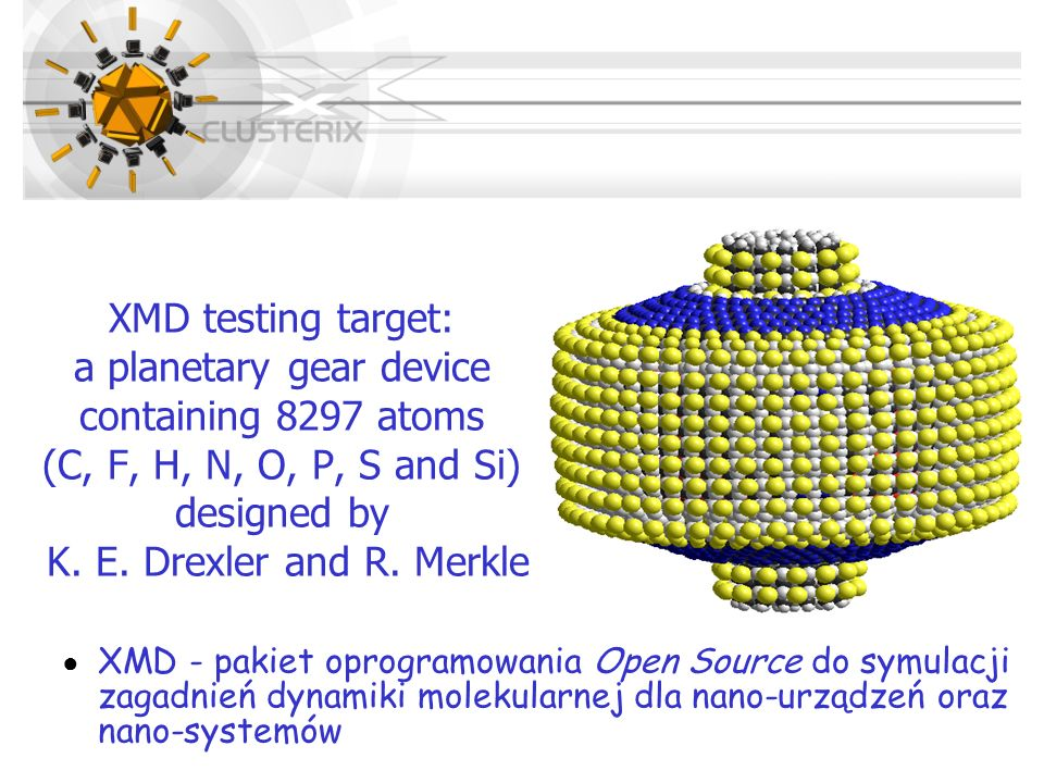 XMD testing target: a planetary gear device containing 8297 atoms (C, F, H, N, O, P, S and Si) designed by K. E. Drexler and R. Merkle
