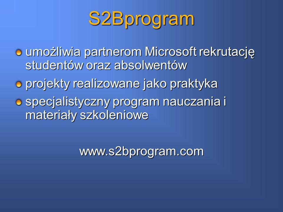 S2Bprogram umożliwia partnerom Microsoft rekrutację studentów oraz absolwentów. projekty realizowane jako praktyka.