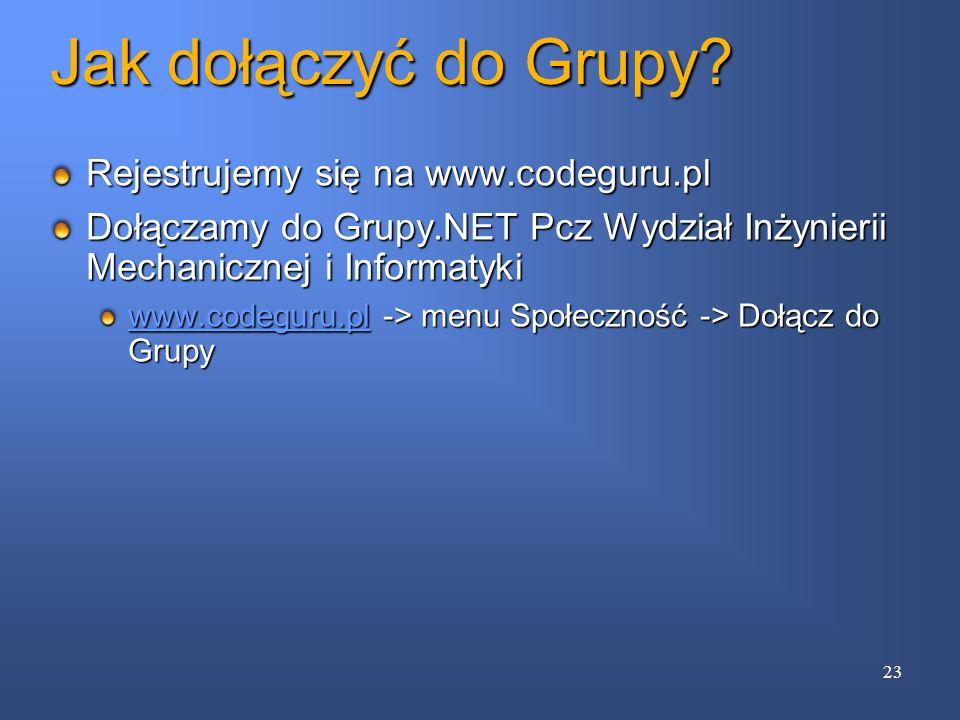 Jak dołączyć do Grupy Rejestrujemy się na www.codeguru.pl