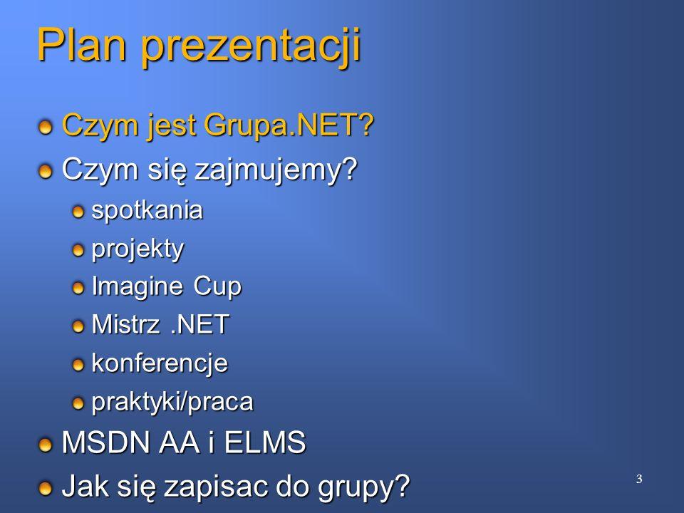 Plan prezentacji Czym jest Grupa.NET Czym się zajmujemy
