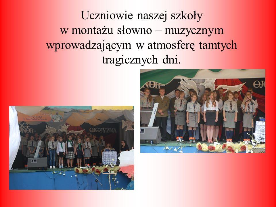Uczniowie naszej szkoły w montażu słowno – muzycznym wprowadzającym w atmosferę tamtych tragicznych dni.
