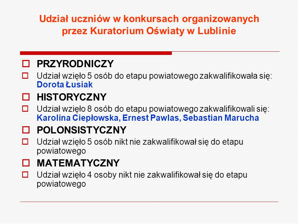 Udział uczniów w konkursach organizowanych przez Kuratorium Oświaty w Lublinie