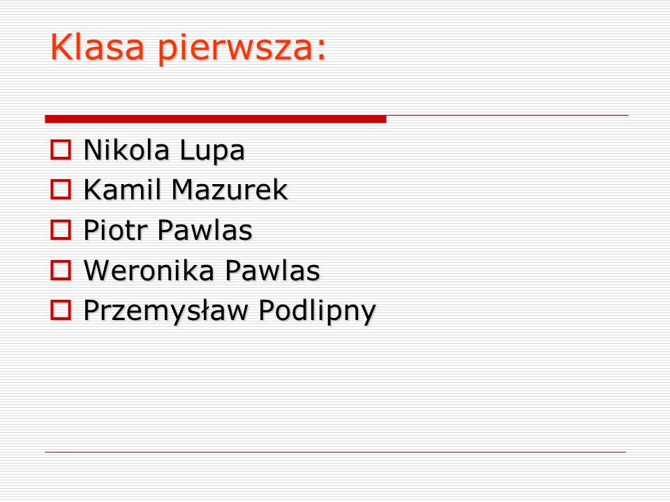 Klasa pierwsza: Nikola Lupa Kamil Mazurek Piotr Pawlas Weronika Pawlas