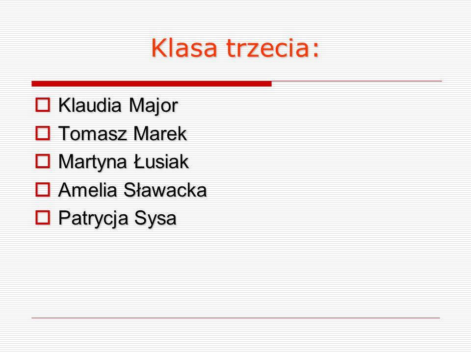 Klasa trzecia: Klaudia Major Tomasz Marek Martyna Łusiak