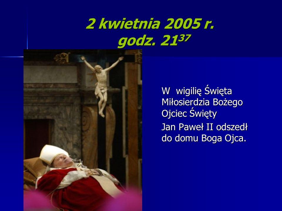 2 kwietnia 2005 r. godz. 2137 W wigilię Święta Miłosierdzia Bożego Ojciec Święty.