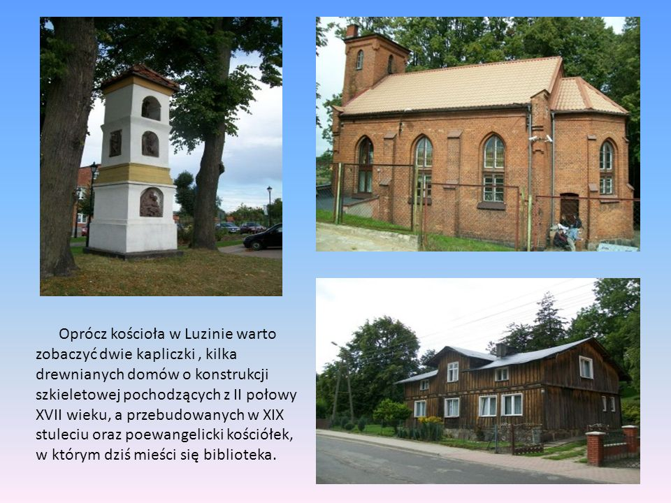 Oprócz kościoła w Luzinie warto zobaczyć dwie kapliczki , kilka drewnianych domów o konstrukcji szkieletowej pochodzących z II połowy XVII wieku, a przebudowanych w XIX stuleciu oraz poewangelicki kościółek, w którym dziś mieści się biblioteka.