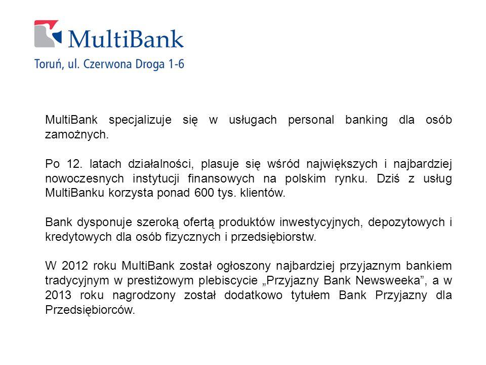MultiBank specjalizuje się w usługach personal banking dla osób zamożnych.