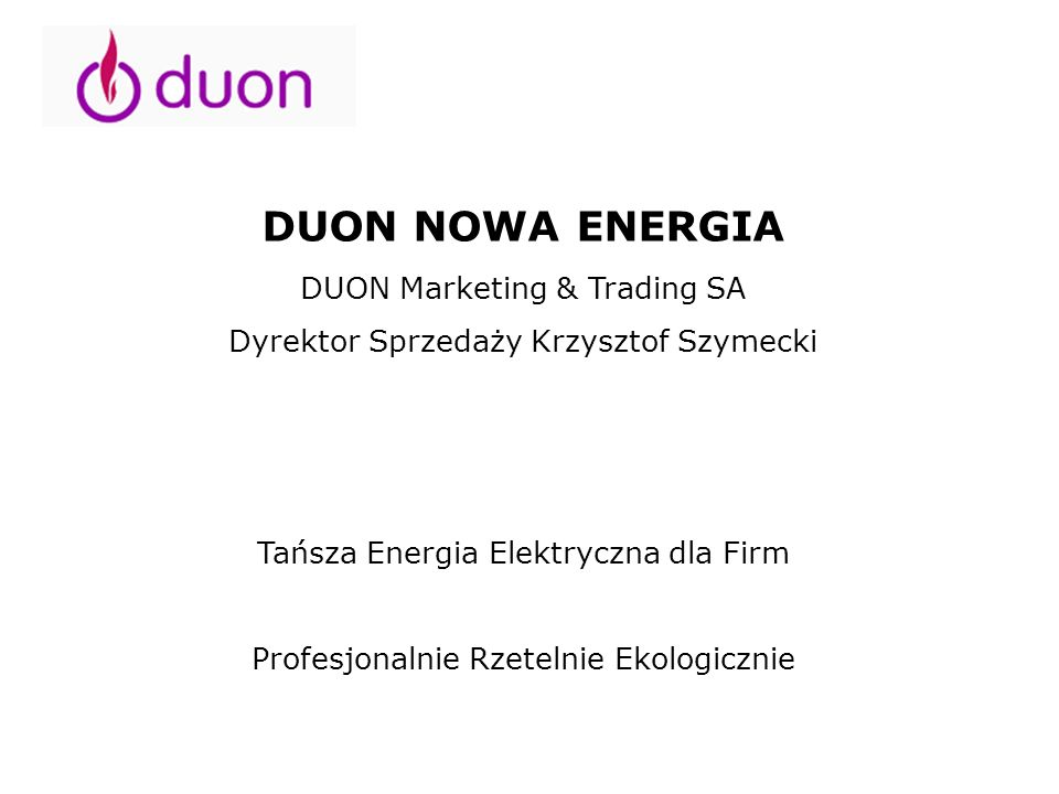 DUON NOWA ENERGIA DUON Marketing & Trading SA