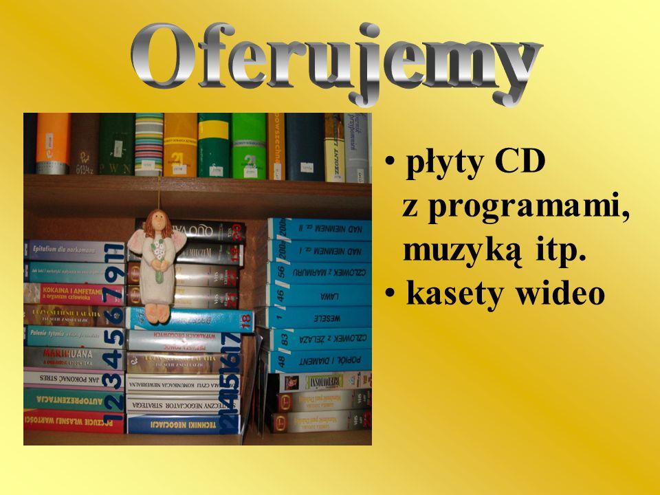 Oferujemy płyty CD z programami, muzyką itp. kasety wideo