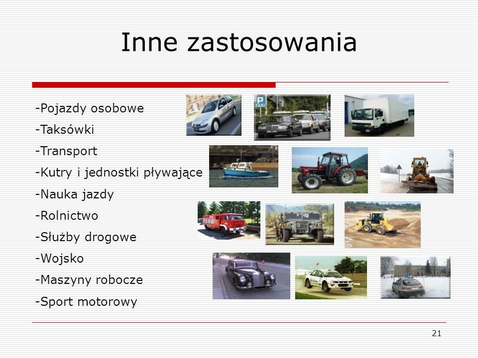 Inne zastosowania Pojazdy osobowe Taksówki Transport