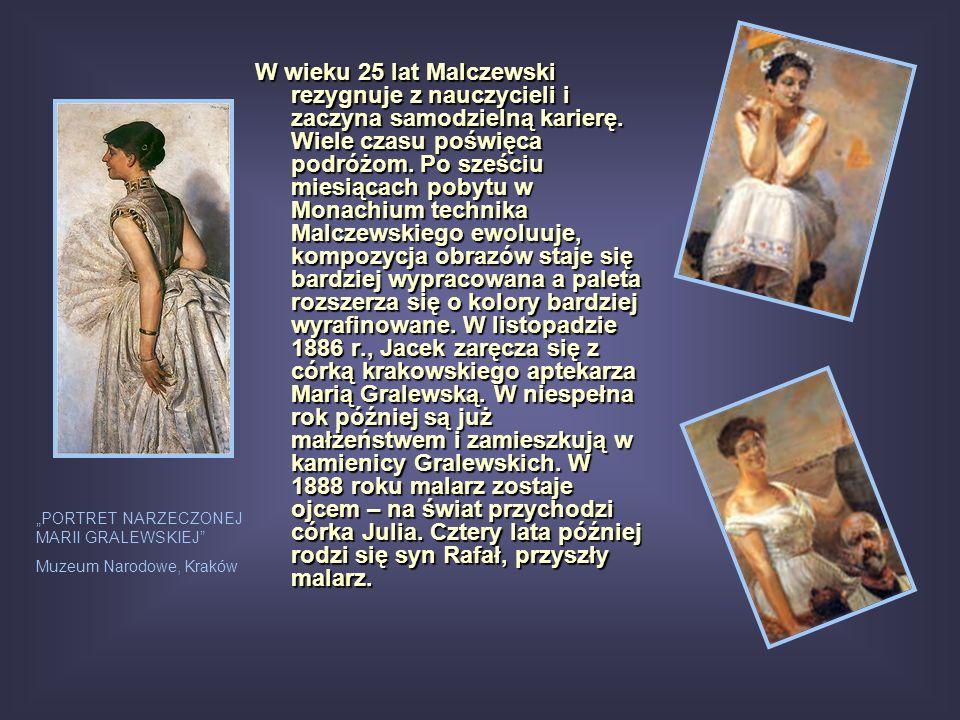 W wieku 25 lat Malczewski rezygnuje z nauczycieli i zaczyna samodzielną karierę. Wiele czasu poświęca podróżom. Po sześciu miesiącach pobytu w Monachium technika Malczewskiego ewoluuje, kompozycja obrazów staje się bardziej wypracowana a paleta rozszerza się o kolory bardziej wyrafinowane. W listopadzie 1886 r., Jacek zaręcza się z córką krakowskiego aptekarza Marią Gralewską. W niespełna rok później są już małżeństwem i zamieszkują w kamienicy Gralewskich. W 1888 roku malarz zostaje ojcem – na świat przychodzi córka Julia. Cztery lata później rodzi się syn Rafał, przyszły malarz.