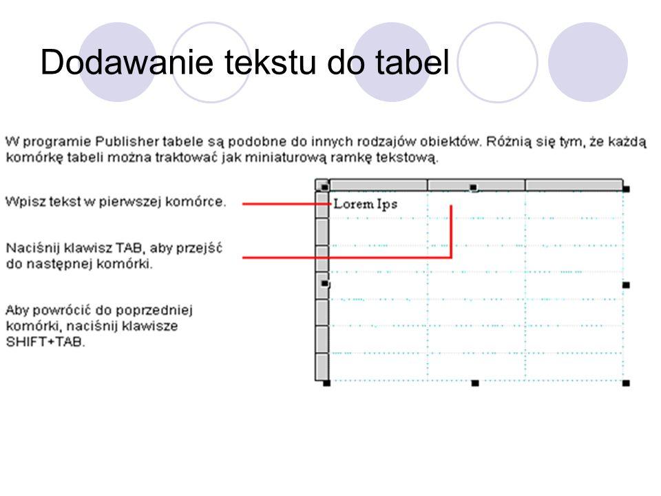 Dodawanie tekstu do tabel