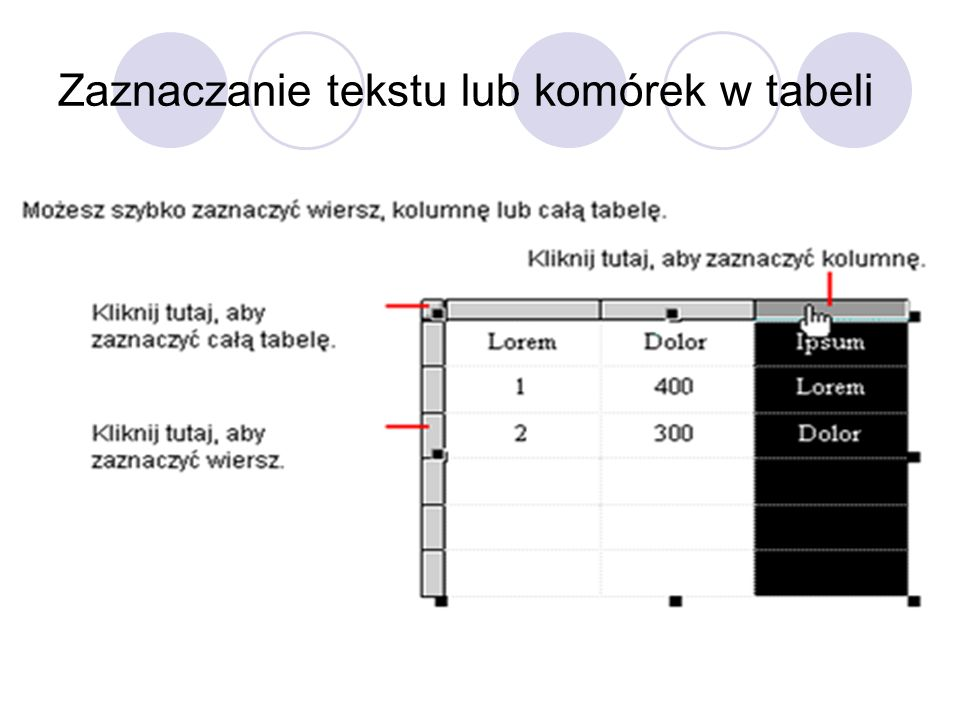 Zaznaczanie tekstu lub komórek w tabeli