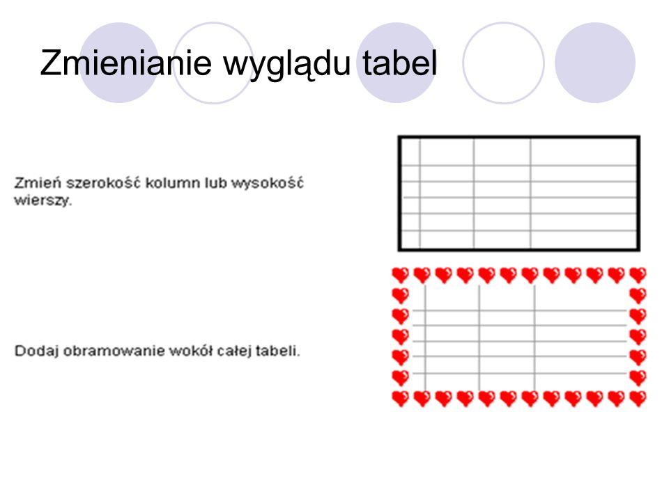 Zmienianie wyglądu tabel