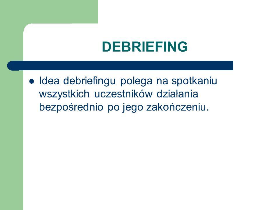 DEBRIEFING Idea debriefingu polega na spotkaniu wszystkich uczestników działania bezpośrednio po jego zakończeniu.