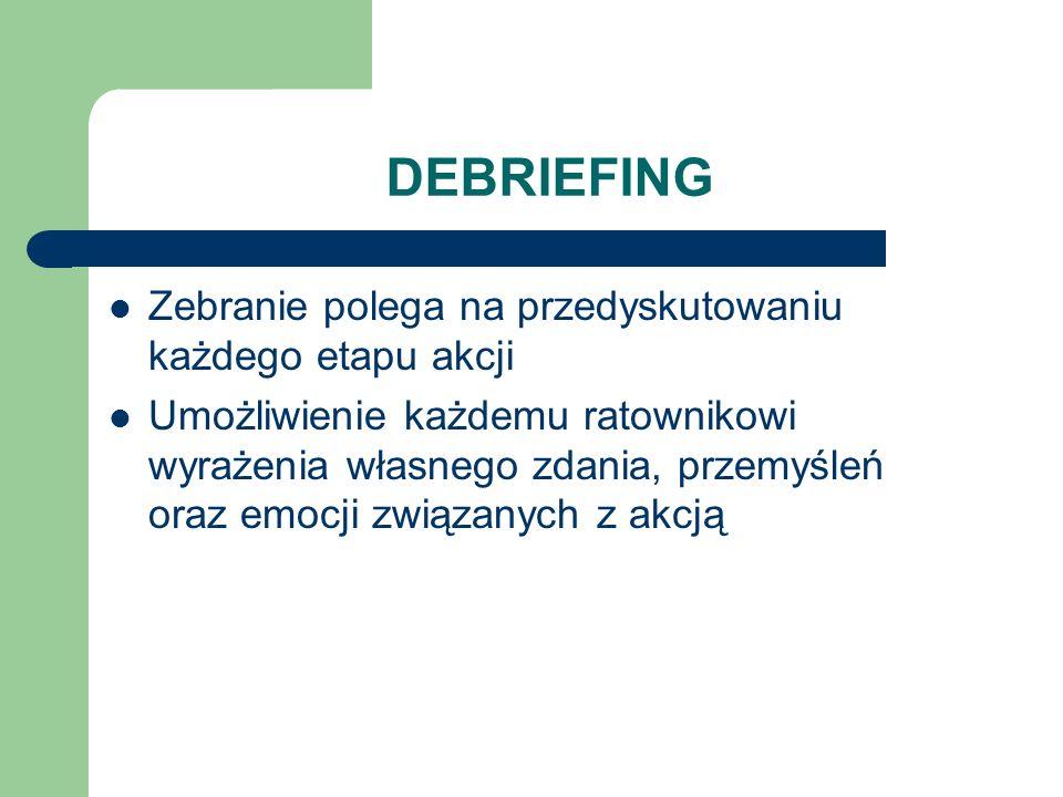 DEBRIEFING Zebranie polega na przedyskutowaniu każdego etapu akcji