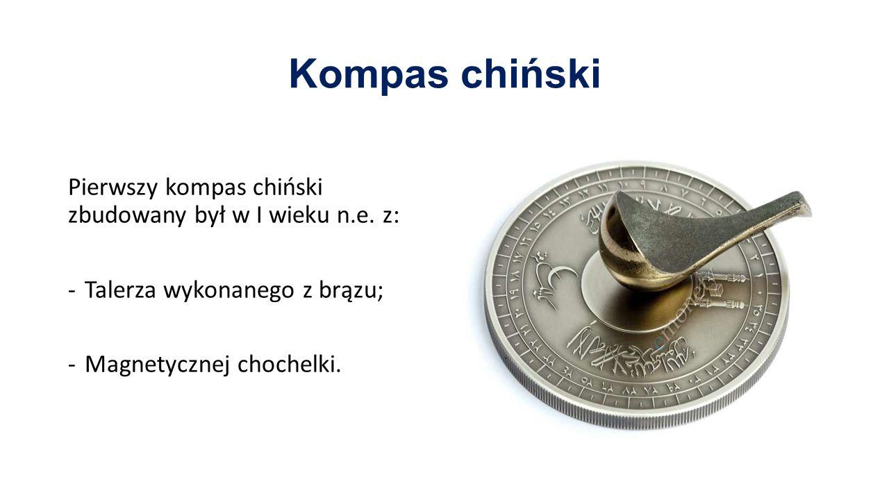 Kompas chiński Pierwszy kompas chiński zbudowany był w I wieku n.e. z: