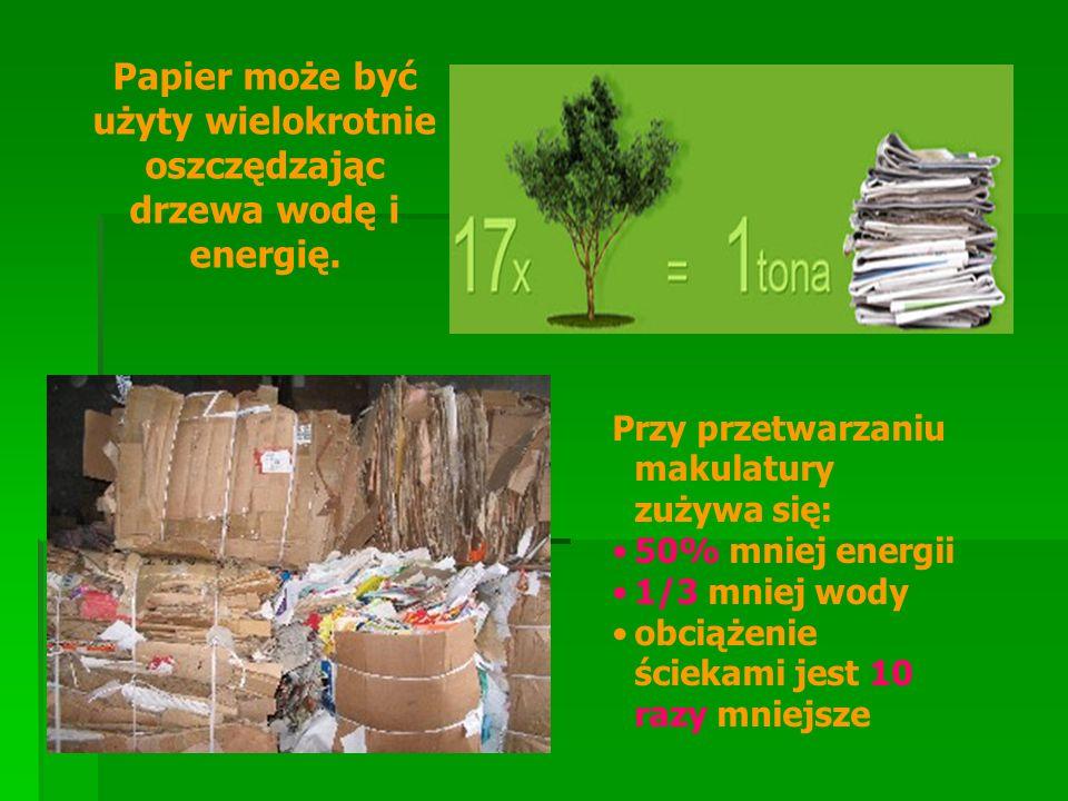 Papier może być użyty wielokrotnie oszczędzając drzewa wodę i energię.