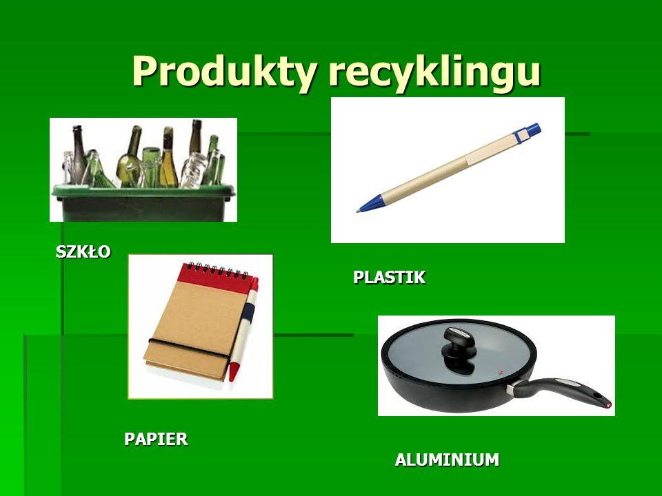 Produkty recyklingu SZKŁO PLASTIK PAPIER ALUMINIUM