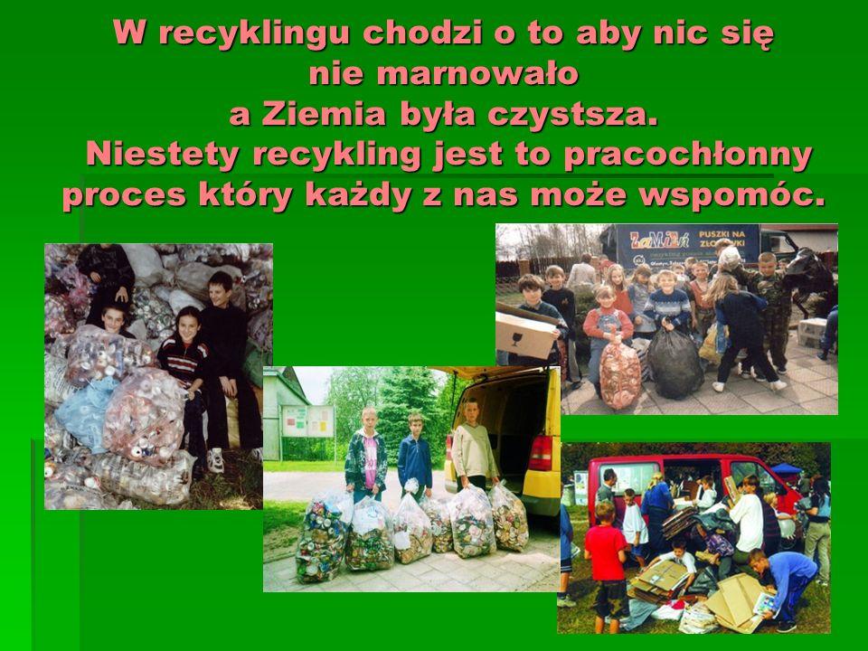 W recyklingu chodzi o to aby nic się nie marnowało a Ziemia była czystsza.