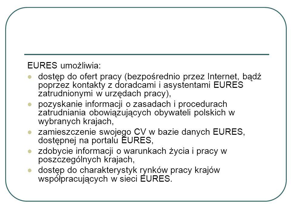 EURES umożliwia: