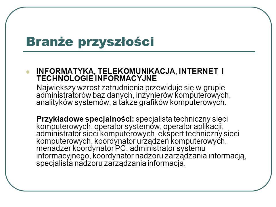 Branże przyszłości INFORMATYKA, TELEKOMUNIKACJA, INTERNET I TECHNOLOGIE INFORMACYJNE.