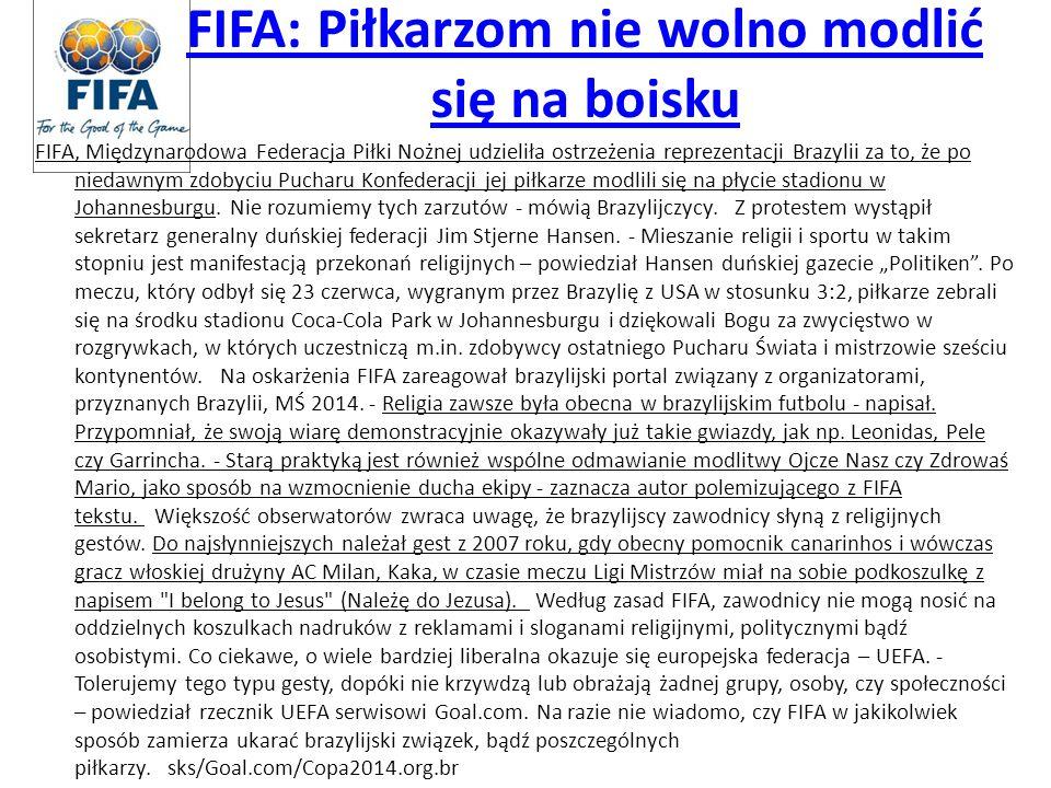 FIFA: Piłkarzom nie wolno modlić się na boisku