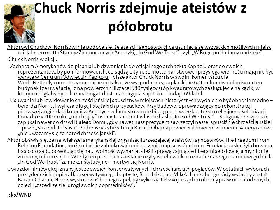 Chuck Norris zdejmuje ateistów z półobrotu