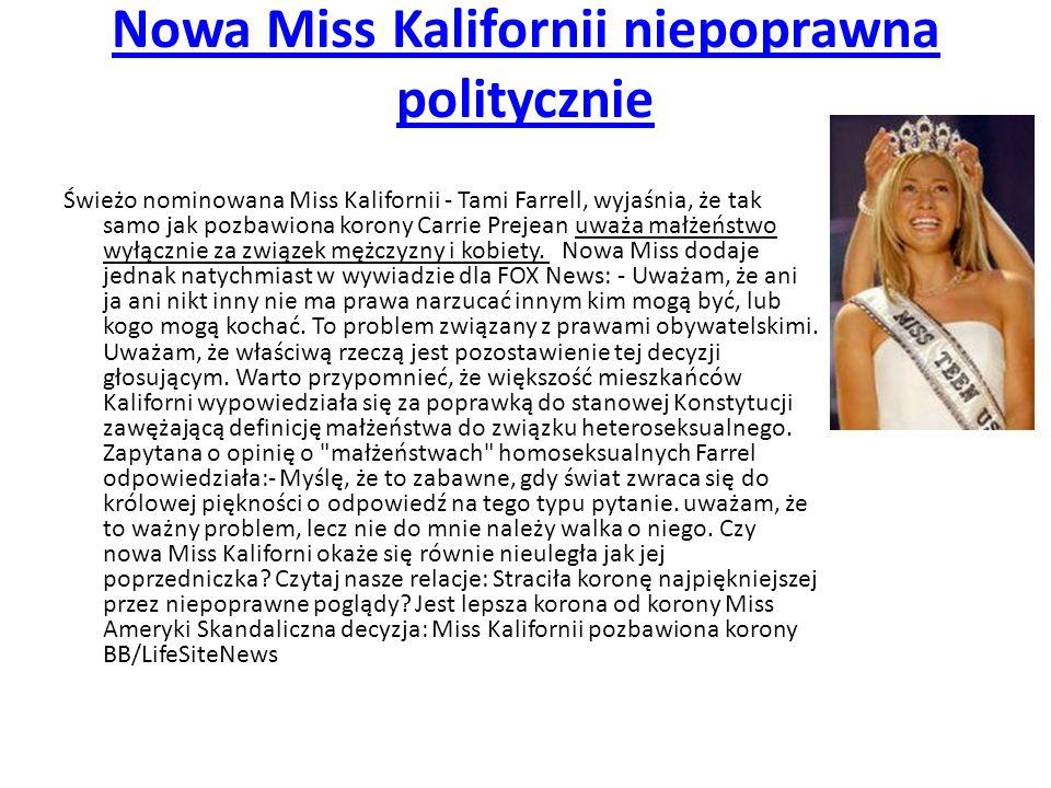 Nowa Miss Kalifornii niepoprawna politycznie