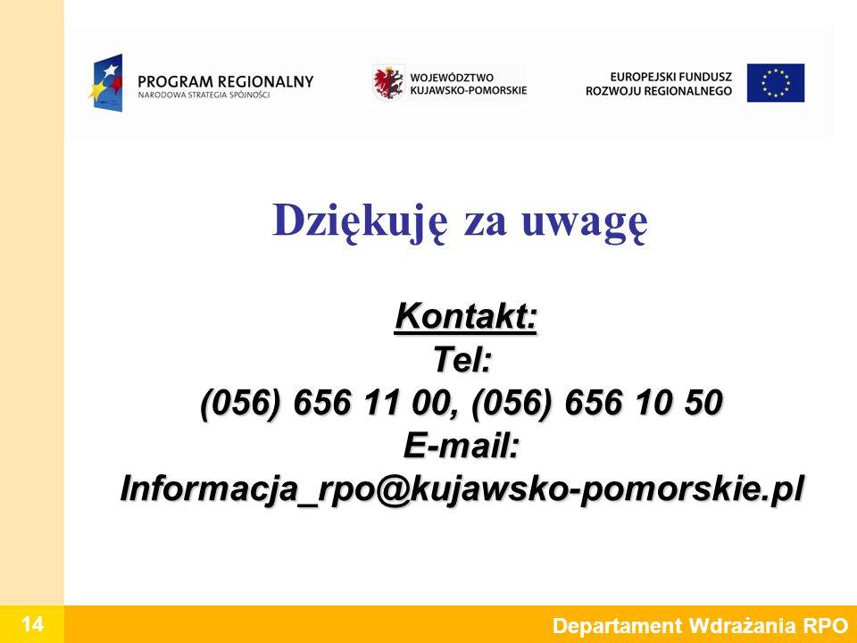 Dziękuję za uwagę Kontakt: Tel: (056) 656 11 00, (056) 656 10 50 E-mail: Informacja_rpo@kujawsko-pomorskie.pl
