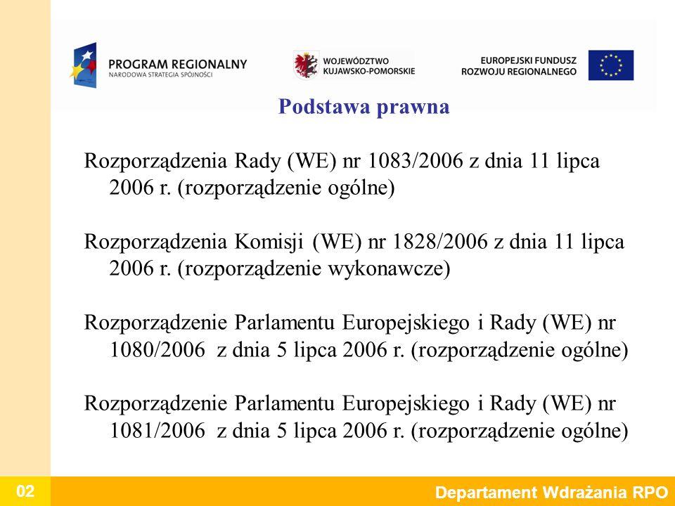 Podstawa prawna Rozporządzenia Rady (WE) nr 1083/2006 z dnia 11 lipca 2006 r. (rozporządzenie ogólne)