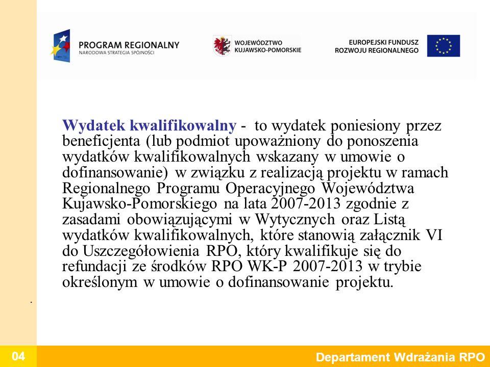 Wydatek kwalifikowalny - to wydatek poniesiony przez beneficjenta (lub podmiot upoważniony do ponoszenia wydatków kwalifikowalnych wskazany w umowie o dofinansowanie) w związku z realizacją projektu w ramach Regionalnego Programu Operacyjnego Województwa Kujawsko-Pomorskiego na lata 2007-2013 zgodnie z zasadami obowiązującymi w Wytycznych oraz Listą wydatków kwalifikowalnych, które stanowią załącznik VI do Uszczegółowienia RPO, który kwalifikuje się do refundacji ze środków RPO WK-P 2007-2013 w trybie określonym w umowie o dofinansowanie projektu.