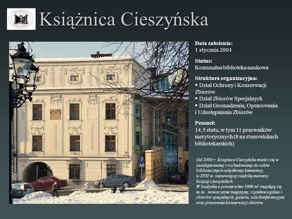 Książnica Cieszyńska Data założenia: 1 stycznia 2004 Status: