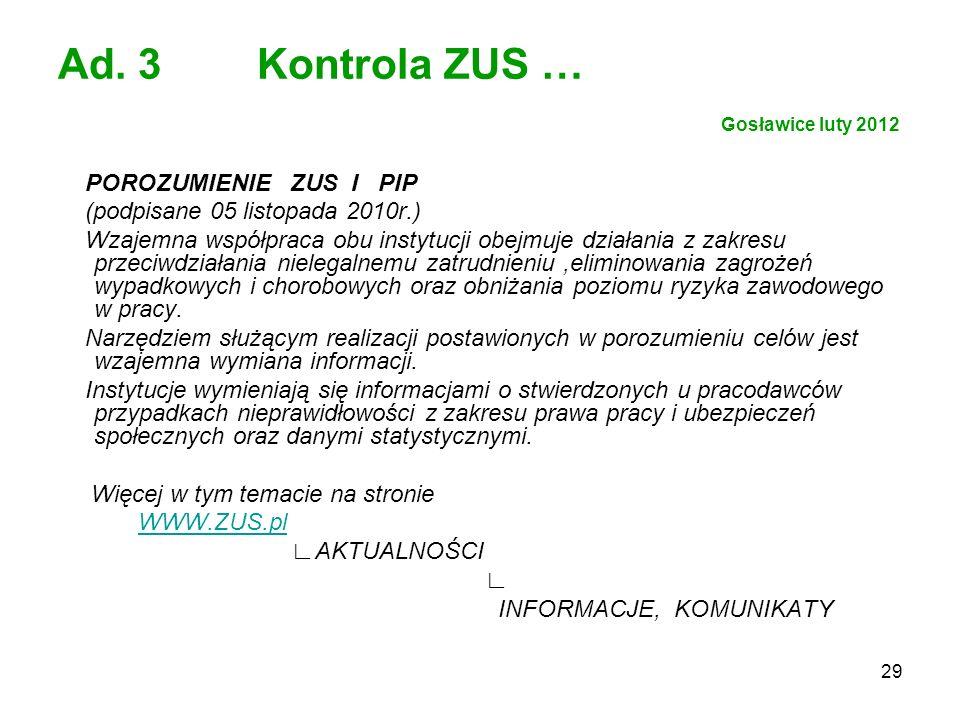 Ad. 3 Kontrola ZUS … Gosławice luty 2012